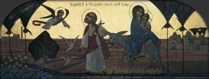 побег Иосифа названного отцом Богомладенца с Его Матерью в Египет